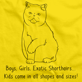 Boys, Girls, & Exotic Shorthairs = Kids Yellow Art Preview