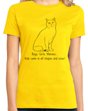 Ladies Yellow Boys, Girls, & Manxes = Kids - Cat Lover Family Parent Pet T-shirt