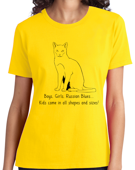 Ladies Yellow Boys, Girls, & Russian Blues = Kids - Cat Lover Proud Parent T-shirt