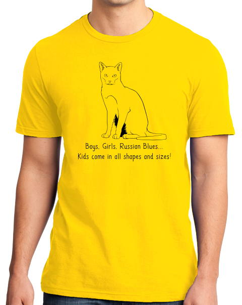 Standard Yellow Boys, Girls, & Russian Blues = Kids - Cat Lover Proud Parent T-shirt