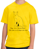 Youth Yellow Boys, Girls, & Russian Blues = Kids - Cat Lover Proud Parent T-shirt