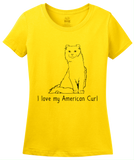 Ladies Yellow I Love My American Curl - Cat Fancy Breed Lover Parent Kitty T-shirt