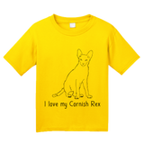 Youth Yellow I Love My Cornish Rex - Cat Fancy Breed Lover Parent Owner T-shirt
