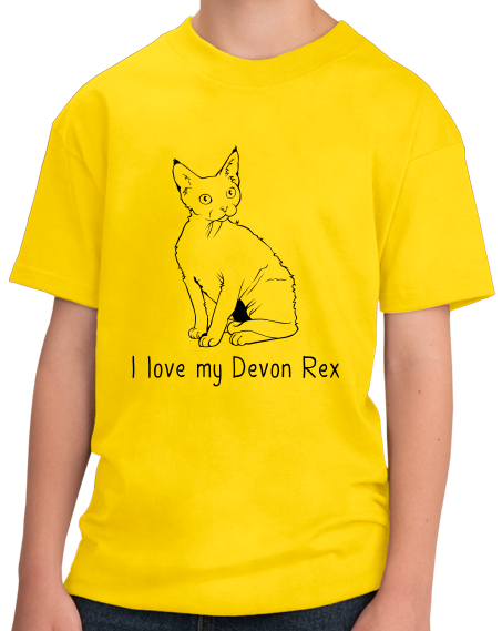 Youth Yellow I Love My Devon Rex - Cat Fancy Breed Lover Parent Owner Pet T-shirt