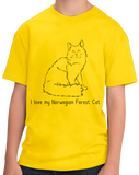 Youth Yellow I Love My Norwegian Forest Cat - Cat Breed Lover Parent T-shirt