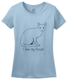 Ladies Light Blue I Love My Ocicat - Cat Fancy Breed Lover Parent Owner Ocelot T-shirt