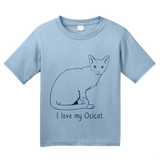 Youth Light Blue I Love My Ocicat - Cat Fancy Breed Lover Parent Owner Ocelot T-shirt