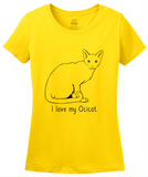 Ladies Yellow I Love My Ocicat - Cat Fancy Breed Lover Parent Owner Ocelot T-shirt