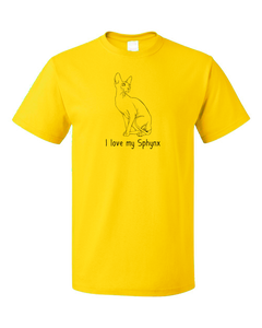 Standard Yellow I Love My Sphynx - Cat Fancy Breed Lover Parent Owner Gift T-shirt