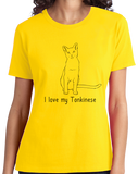 Ladies Yellow I Love My Tonkinese - Cat Fancy Breed Lover Parent Owner T-shirt