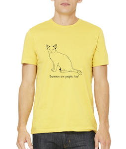 Standard Yellow Burmese Are People Too! - Cat Breed Lover Parent Owner Gift T-shirt
