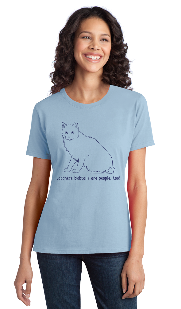 Ladies Light Blue Japanese Bobtails Are People Too! - Cat Lover Parent Owner T-shirt