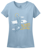 Ladies Light Blue Dyslexic Friend Helped Me Find Dog - Christian Salvation Humor T-shirt