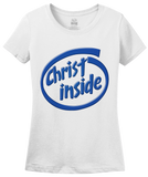 Ladies White Christ Inside - Funny Modern Christian Faith Humor T-shirt