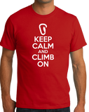 Standard Red Keep Calm And Climb On - Rock Climbing Humor Funny Fan Gift T-shirt