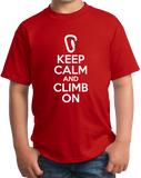 Youth Red Keep Calm And Climb On - Rock Climbing Humor Funny Fan Gift T-shirt