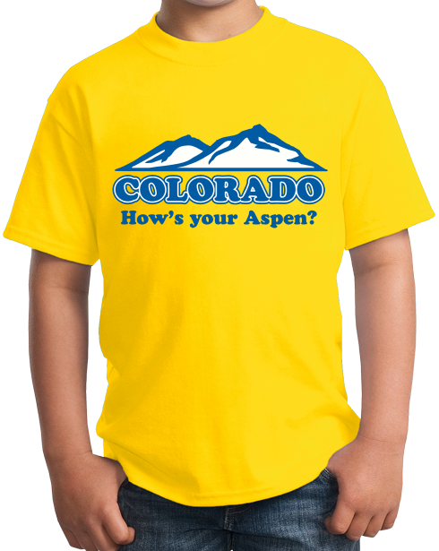 "Youth Yellow Colorado ""How's Your Aspen""?"" - Aspen Colorado Retro Hipster T-shirt"
