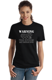 Ladies Black Warning, This Kitchen May Contain Nuts - Allergy Warning Humor T-shirt