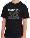 Youth Black Warning, This Kitchen May Contain Nuts - Allergy Warning Humor T-shirt