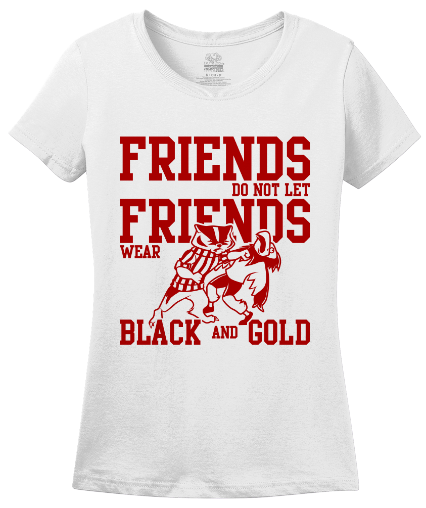 Ladies White WISCONSIN FOOTBALL FAN TEE T-shirt