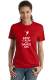 Ladies Red Keep Calm And Dance On T-shirt