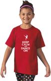Youth Red Keep Calm And Dance On T-shirt