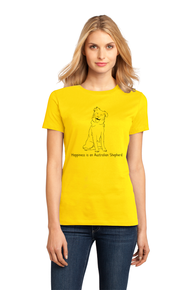 Ladies Yellow Happinesse is an Australian Shepherd - Australian Shepherd Lover