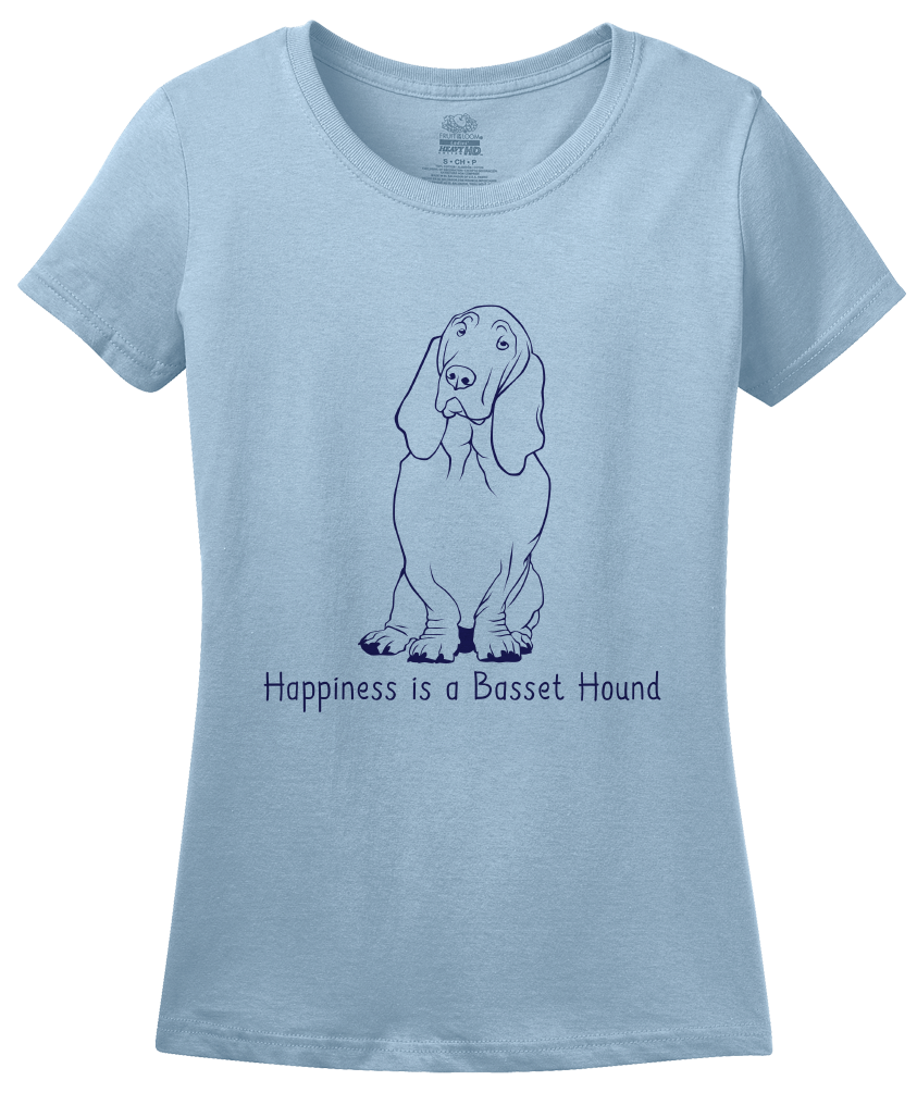 Ladies Light Blue Happiness is a Basset Hound - Basset Hound Dog Lover Gift T-shirt