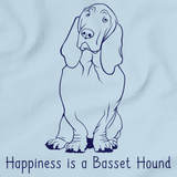HAPPINESS IS A BASSET HOUND Light blue art preview