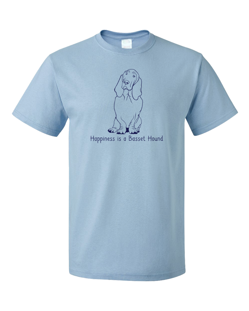 Standard Light Blue Happiness is a Basset Hound - Basset Hound Dog Lover Gift T-shirt