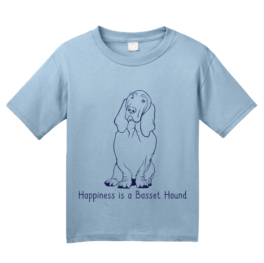 Youth Light Blue Happiness is a Basset Hound - Basset Hound Dog Lover Gift T-shirt