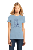 Ladies Light Blue Happiness is a Beagle - Beagle Lover Dog Cute Gift Fun T-shirt