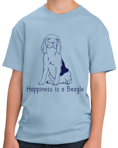 Youth Light Blue Happiness is a Beagle - Beagle Lover Dog Cute Gift Fun T-shirt
