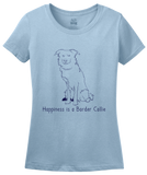 Ladies Light Blue Happiness is a Border Collie - Border Collie Dog Lover Cute T-shirt