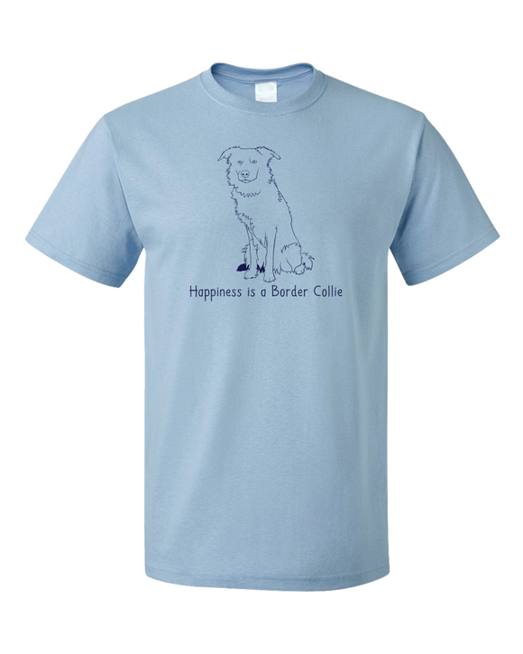 Standard Light Blue Happiness is a Border Collie - Border Collie Dog Lover Cute T-shirt