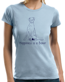 Ladies Light Blue Happiness is a Boxer - Boxer Dog Breed Lover Cute Gift Fun T-shirt