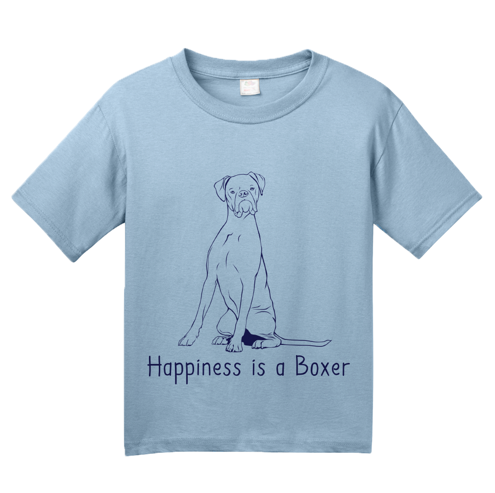 Youth Light Blue Happiness is a Boxer - Boxer Dog Breed Lover Cute Gift Fun T-shirt