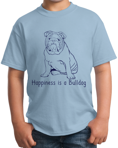 Youth Light Blue Happiness is a Bulldog - Bulldog Breed Lover Fan Cute Dog T-shirt