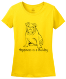Ladies Yellow Happiness is a Bulldog - Bulldog Breed Lover Fan Cute Dog T-shirt