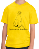 Youth Yellow Happiness is a Great Dane - Great Dane Dog Lover Cute T-shirt