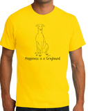 Standard Yellow Happiness is a Greyhound - Greyhound Dog Lover Cute Gift Rescue T-shirt