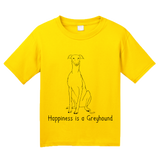 Youth Yellow Happiness is a Greyhound - Greyhound Dog Lover Cute Gift Rescue T-shirt