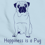 HAPPINESS IS A PUG Light blue art preview