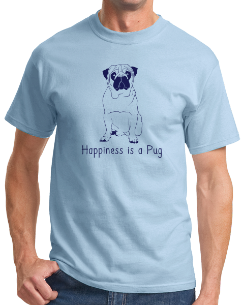 Standard Light Blue Happiness is a Pug - Pug Dog Breed Lover Cute Funny Gift T-shirt