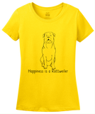 Ladies Yellow Happiness is a Rottweiler - Rottweiler Dog Lover Cute Gift T-shirt