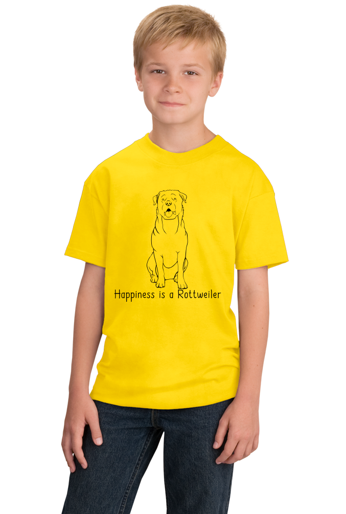 Youth Yellow Happiness is a Rottweiler - Rottweiler Dog Lover Cute Gift T-shirt