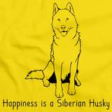 HAPPINESS IS A SIBERIAN HUSKY Yellow art preview