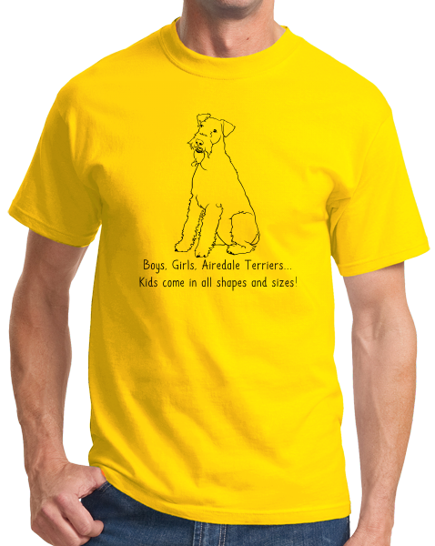 Standard Yellow Boys, Girls, & Airedale Terriers = Kids - Airedale Family Dog T-shirt