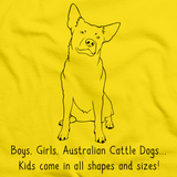 BOYS, GIRLS, & AUSTRALIAN CATTLE DOGS = KIDS Yellow art preview