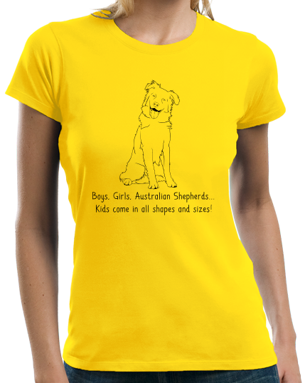 Ladies Yellow Boys, Girls, & Australian Shepherds = Kids - Aussie Dog Lover T-shirt